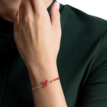 Iconic Swan 手链, 红色, 镀金色调 - Swarovski, 5465403