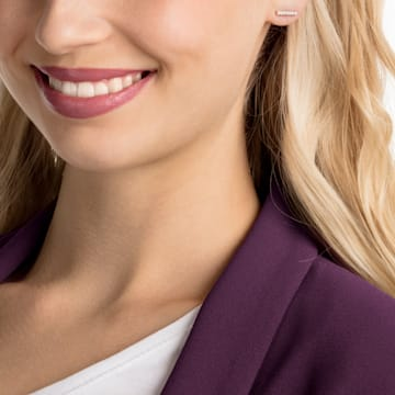 Only Pierced Earrings, White, Rose-gold tone plated - Swarovski, 5465785