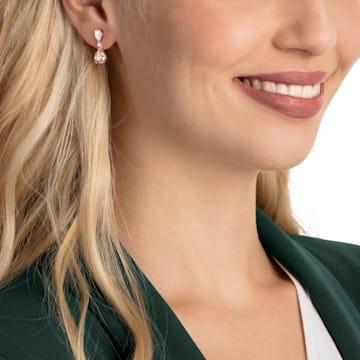 Vintage 穿孔耳環, 粉紅色, 鍍玫瑰金色調 - Swarovski, 5466888
