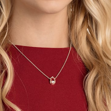 Swarovski Sparkling Dance Oval necklace, White, Rose-gold tone plated - Swarovski, 5468084