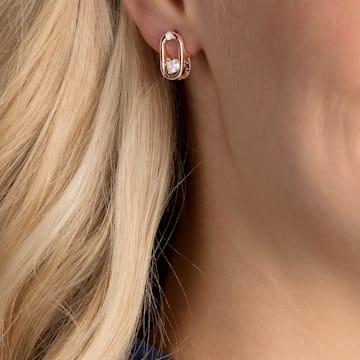 Swarovski Sparkling Dance Oval 耳钉, 白色, 镀玫瑰金色调 - Swarovski, 5468118