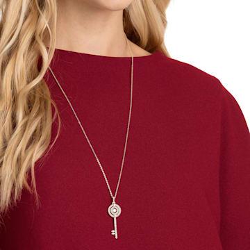 Swarovski Sparkling Dance Key 鏈墜, 白色, 鍍玫瑰金色調 - Swarovski, 5469120