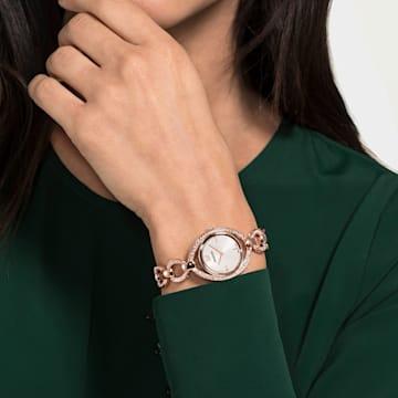 Hodinky Stella s kovovým páskem, bílé, PVD v odstínu růžového zlata - Swarovski, 5470415