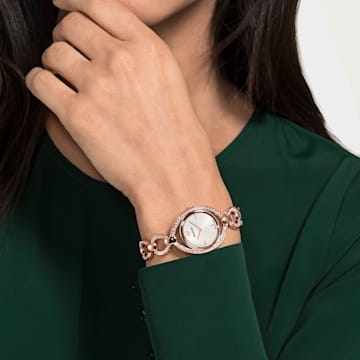 Stella 手錶, 金屬手鏈, 白色, 玫瑰金色調PVD - Swarovski, 5470415