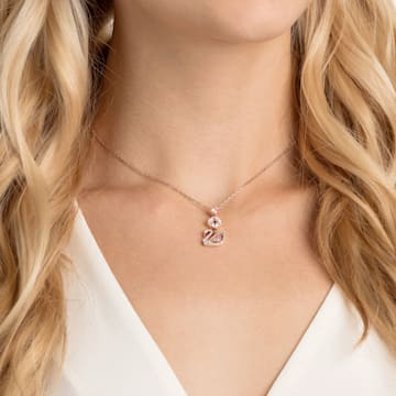 Κολιέ Dazzling Swan Y, πολύχρωμο, επιχρυσωμένο σε χρυσή ροζ απόχρωση - Swarovski, 5473024