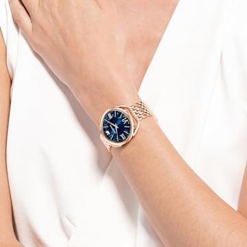 Crystalline Glam Часы, Металлический браслет, Синий Кристалл, PVD-покрытие оттенка розового золота - Swarovski, 5475784