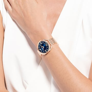 Crystalline-glamoureus horloge, Metalen armband, Blauw, Roségoudkleurig PVD - Swarovski, 5475784
