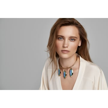 Collar Evil Eye, azul, baño tono oro - Swarovski, 5477641