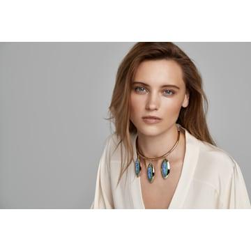 Evil Eye Halskette, blau, vergoldet - Swarovski, 5477641