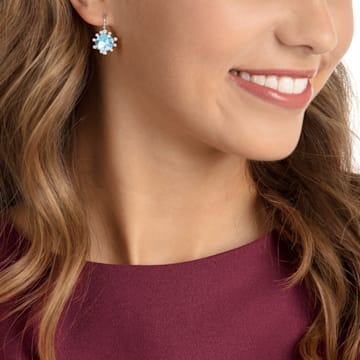 Olive 穿孔耳环, 海蓝色, 镀铑 - Swarovski, 5479927