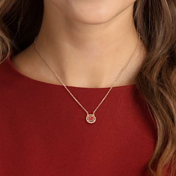 Oxygen necklace, Red, Rose-gold tone plated - Swarovski, 5481255