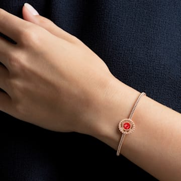 Oxygen bangle, Medium, Red, Rose-gold tone plated - Swarovski, 5482675