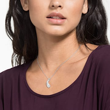 Nice Necklace, White, Rhodium plated - Swarovski, 5482914