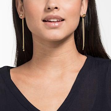 New Love Pierced Tassell Earrings, Multi-colored, Gold-tone plated - Swarovski, 5483978