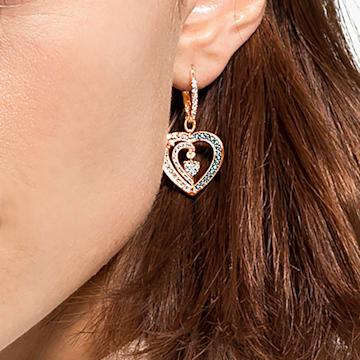 Starry Night earrings, Heart, Blue, Rose-gold tone plated - Swarovski, 5484016