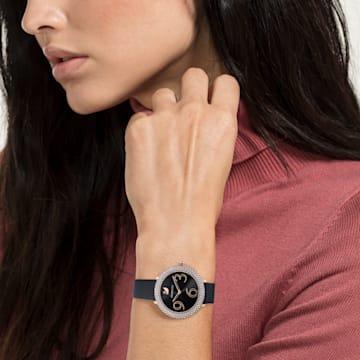 Reloj Crystal Frost, Correa de piel, negro, PVD en tono Oro Rosa - Swarovski, 5484058