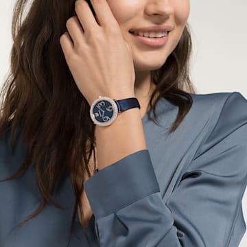 Crystal Frost 腕表, 真皮表带, 蓝色, 玫瑰金色调 PVD - Swarovski, 5484061