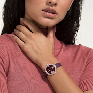 Crystal Frost 腕表, 真皮表带, 深红色, 玫瑰金色调 PVD - Swarovski, 5484064