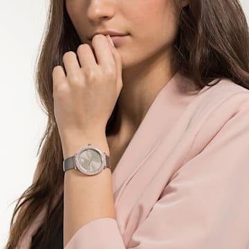 Hodinky Crystal Frost s koženým páskem, šedé, PVD v odstínu růžového zlata - Swarovski, 5484067