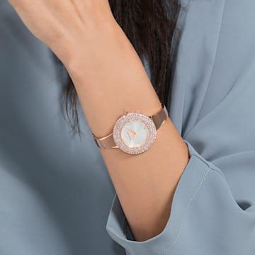 Hodinky Crystal Rose s kovovým páskem, bílé, PVD v odstínu růžového zlata - Swarovski, 5484073