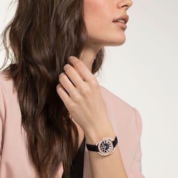Orologio Duo, Cinturino in pelle, nero, PVD oro rosa - Swarovski, 5484373