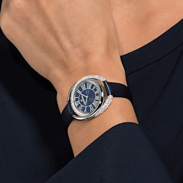 Duo Uhr, Lederarmband, blau, Edelstahl - Swarovski, 5484376