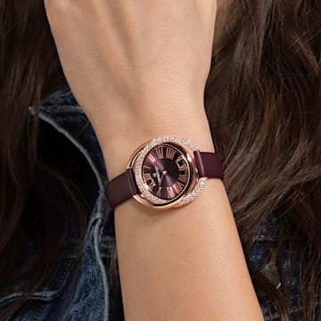 Orologio Duo, Cinturino in pelle, rosso scuro, PVD oro rosa - Swarovski, 5484379