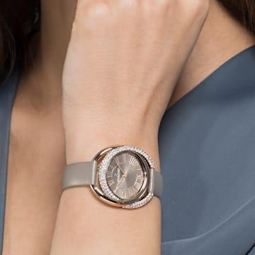 Duo-horloge, Leren horlogebandje, Grijs, Champagnegoudkleurig PVD - Swarovski, 5484382