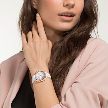 Hodinky Duo s koženým páskem, bílé, PVD v odstínu růžového zlata - Swarovski, 5484385