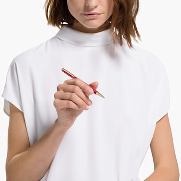 Crystalline 圓珠筆, 紅色, 鍍玫瑰金色調 - Swarovski, 5484978