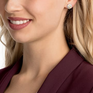Sunshine clip earrings, White, Rhodium plated - Swarovski, 5485461