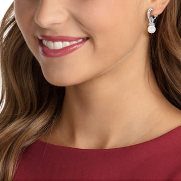 Originally Clip Earrings, White, Rhodium plated - Swarovski, 5485465