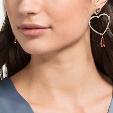 Black Baroque Hoop Pierced Earrings, Multi-coloured, Gold-tone plated - Swarovski, 5485657