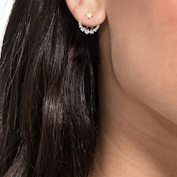 Penélope Cruz Moonsun 穿孔耳環花托, 白色, 鍍玫瑰金色調 - Swarovski, 5486351