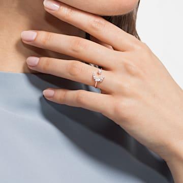 Moonsun Разомкнутое кольцо, Белый кристалл, Покрытие оттенка розового золота - Swarovski, 5486814