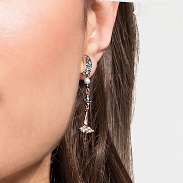Swarovski Symbolic earring jackets, Graduated crystals, Moon and star, Multicolored, Rose-gold tone plated - Swarovski, 5489533