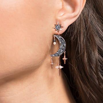 Swarovski Symbolic earrings, Graduated crystals, Moon and star, Multicoloured, Rose-gold tone plated - Swarovski, 5489536