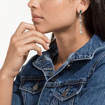 Perfection 穿孔耳環, 綠色, 鍍白金色 - Swarovski, 5493098