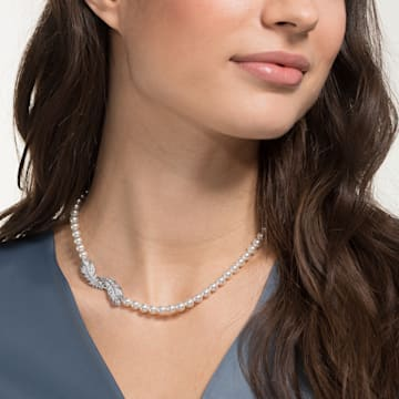 Nice Halskette, weiss, Rhodiniert - Swarovski, 5493403