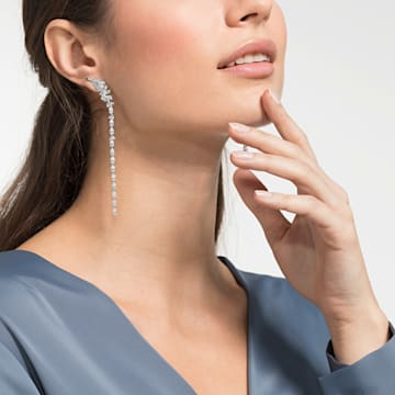 Nice 穿孔耳环, 白色, 镀铑 - Swarovski, 5493406