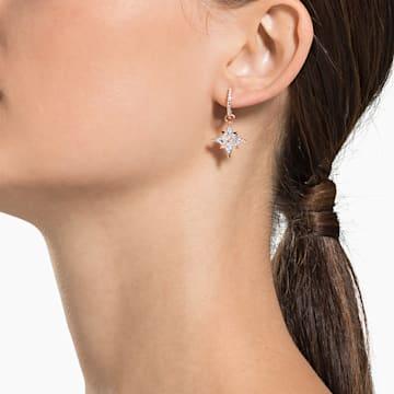 Swarovski Symbolic Star 穿孔耳环, 白色, 镀玫瑰金色调 - Swarovski, 5494337