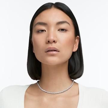 Collier Tennis Deluxe, blanc, métal rhodié - Swarovski, 5494605