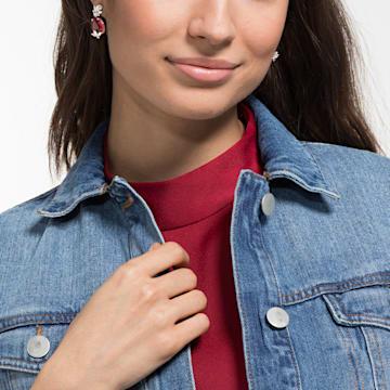 Louison 水滴形穿色耳環, 紅色, 鍍銠 - Swarovski, 5495078