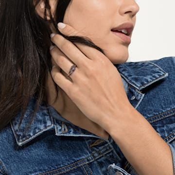 Naughty 圖形戒指, 黑色, 鍍玫瑰金色調 - Swarovski, 5495296