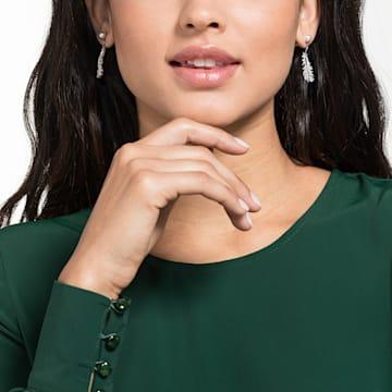 Nice 穿孔耳環, 白色, 鍍白金色 - Swarovski, 5496052