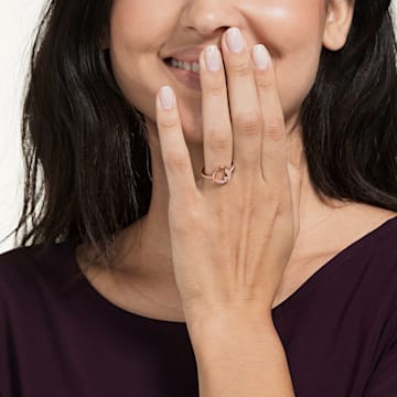 Prsten s motivem North, Bílý, Pozlacený růžovým zlatem - Swarovski, 5498035