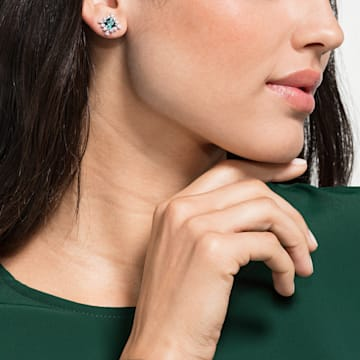 Palace 耳钉, 绿色, 镀铑 - Swarovski, 5498837