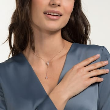 Precisely Y Necklace, White, Rose-gold tone plated - Swarovski, 5499885