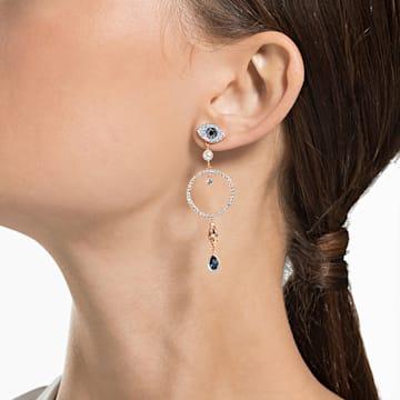 Swarovski Symbolic hoop earrings, Evil eye, Blue, Rose gold-tone plated - Swarovski, 5500642