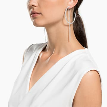 Orecchini a cerchio Fit, bianco, acciaio inossidabile - Swarovski, 5504570